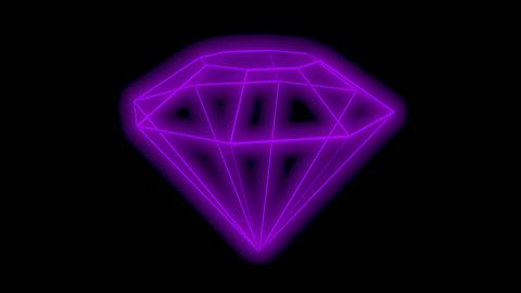 Geometry Diamond Shape with neon glow, abstract rotation video, loop Animation
