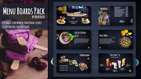 Menu Boards Pack After Effects Template