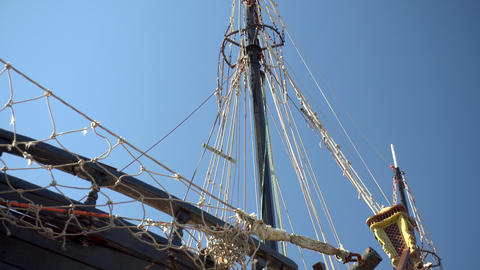 Mast of a pirate ship. Old wooden ship. Close-up Live Action