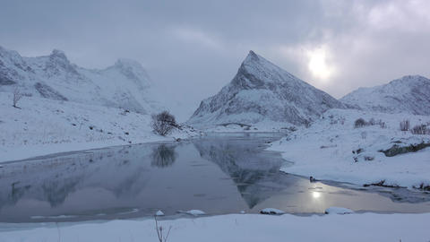 Weather in Lofoten is Changing Rapidly. Fast Motion Live Action