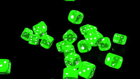 Green Dice On Black Background CG動画