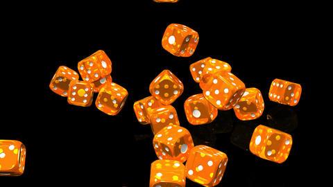 Orange Dice On Black Background CG動画