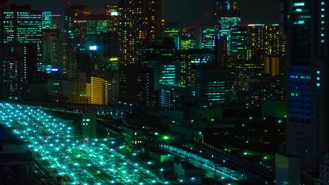 A night timelapse of panoramic view at the urban city in Tokyo high angle long Live Action