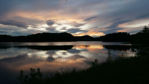 Norwegian Lake Sunset in Time Lapse 4k UHD Natural Landscape Live Action