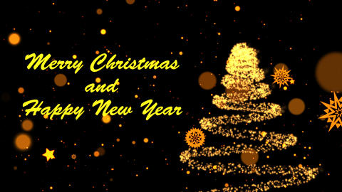 Merry Christmas and Happy New Year greeting message with sparkly Christmas tree rotating on black Animation