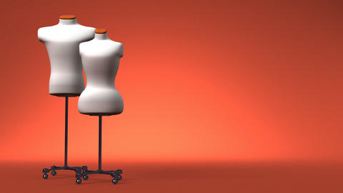 Display Mannequins On Brown Text Space Animation