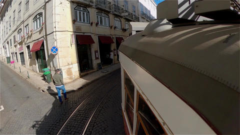 Tram tour in the historic district of Lisbon - CITY OF LISBON, PORTUGAL - Live Action