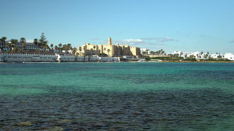 The ancient fortress Ribat stands on the shores of Monastir, Tunis. Fortress for Live Action