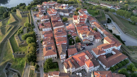 Aerial view of Fortified town, Valença do Minho, Portugal Live Action