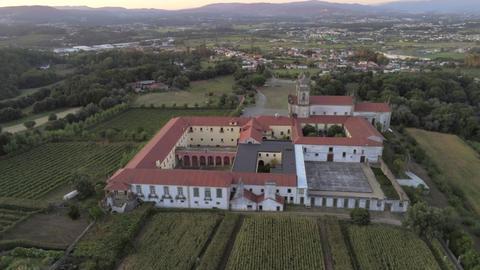 Aerial view of Mosteiro de São Martinho de Tibães (Monastery of St Martin of Tibães), Mire de Live Action