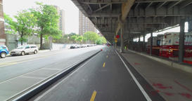 Forward Perspective Riding Bike on East River Bikeway in Manhattan Footage