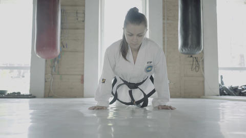 Taekwondo Girl Training Push Ups Footage