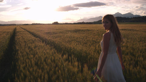 Pretty girl in the yellow wheat field looking into the camera while walking Footage