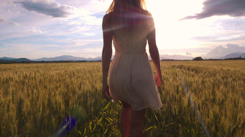 Slow-motion - Walking behind beauty girl in wheat field and stopping Footage