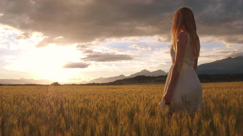 Slow motion - Beauty girl with long hair standing in the yellow wheat field Footage