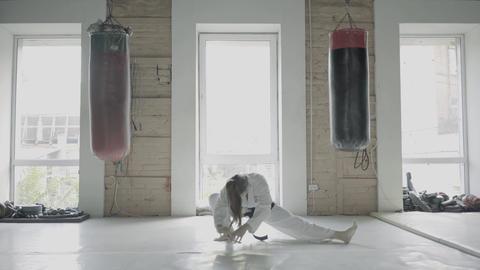 Taekwon-do Girl Stretching Footage