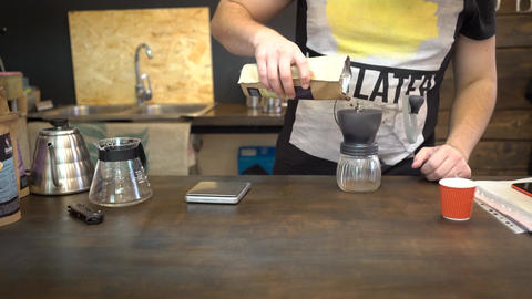Barista Grinding Coffee Beans The Hard Way Footage