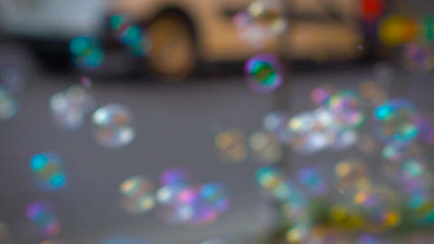 Soap Bubbles In Real Time Dof Stock Video Footage