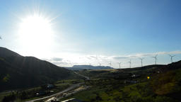 Wind turbines energy at sunny day at the horizon at sunset Footage