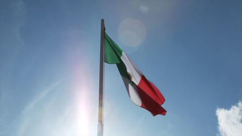 National flag of Mexico on a flagpole Footage