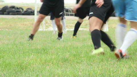 Outdoor amateur football players attack on goal Footage