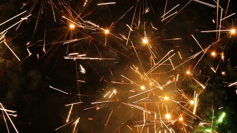 Large firework sparks burning at night fire show Footage