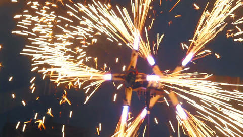 Spinning fire mill, sparkles everywhere, fireshow performance Footage