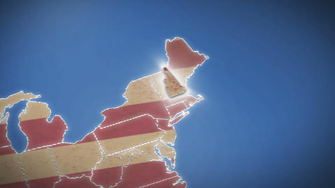 USA map, New Hampshire pull out, all states available. Blue background Footage
