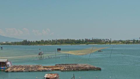 Bamboo Rafts Fishing Nets in Sea Bay in Vietnam Footage