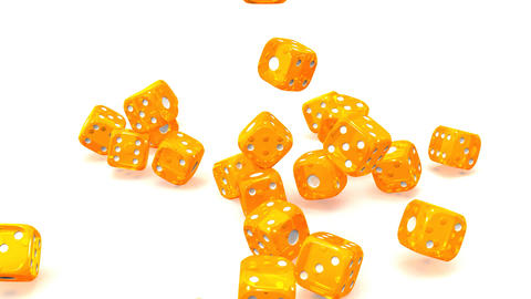 Orange Dice On White Background Animation