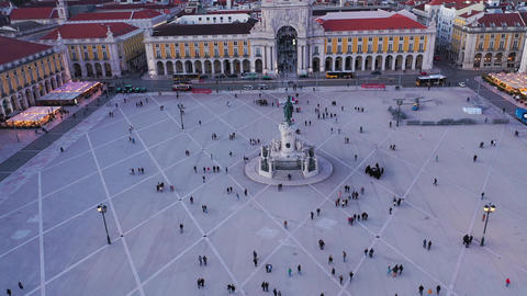 Commerce Square in Lisbon called Praca do Comercio - the central market square Live Action