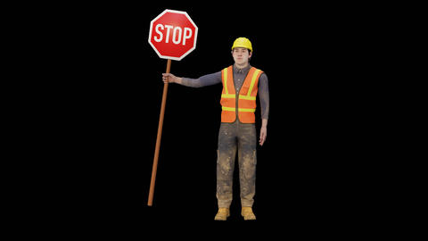 Worker holding a stop sign GIF