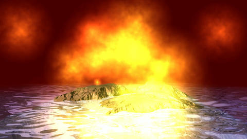 192 3d animated landscape sea in fire subject for warming climate Animation