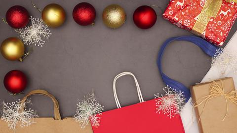 Christmas shopping stop motion animation - Christmas sale Stock Video Footage