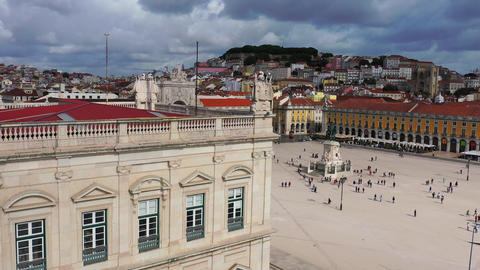 The hill of Alfama Lisbon - aerial view from Commerce Square called Praca do Live Action