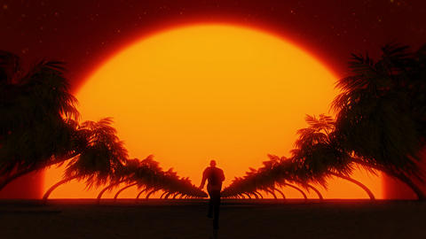 3D Running to the Sun VJ Loop Motion Graphic Background Animation