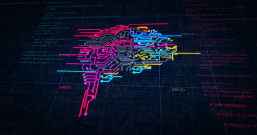 Cybernetic brain futuristic sketch Animation