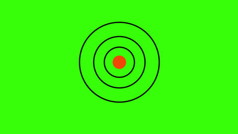 Two arrows hitting a target on green chromakey background Animation