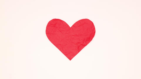 Piece of red paper appear on white background and make big heart for Valentine's day - Stop motion CG動画