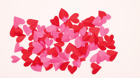 Group of hearts moving on white background - Stop motion Valentine's day CG動画