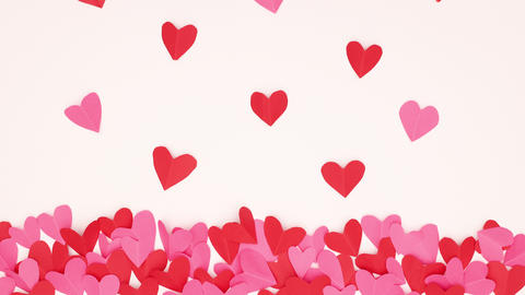 Stop motion animation of red and pink hearts come out from group of hearts on the bottom of white CG動画