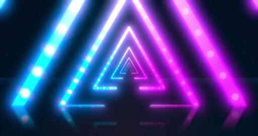 Abstract neon flying triangle tunnel with fluorescent ultraviolet light Animation