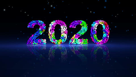 New Year 2020 Animation. Hand-Drawn Decorative Numbers 스톡 비디오 클립, 영상 소스, 스톡 4K 영상