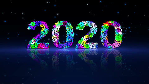 New Year 2020 Animation. Hand-Drawn Decorative Numbers Animation