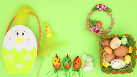 Happy Easter stop motion animation - Beautiful Easter decoration on green background Animation