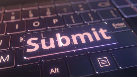 Futuristic computer keyboard and transparent submit key. Conceptual 3D animation Live Action