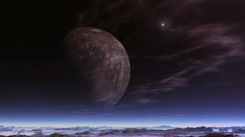 UFO Flies Away From a Huge Moon GIF