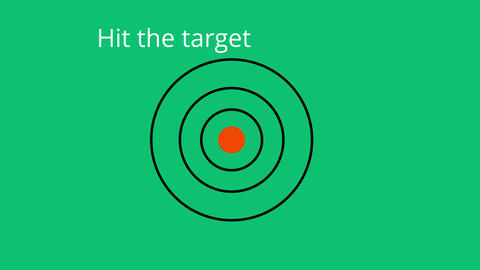 Two arrows hitting target on green background and inscription hit the target Animation
