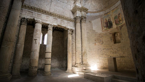 Motion Timelapse inside Roman Basilica Live Action