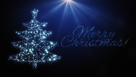 Blue Christmas tree animation and Merry Christmas text with snow Animation
